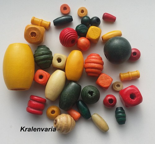 Houten kralenmix 6-30  mm Multicolor