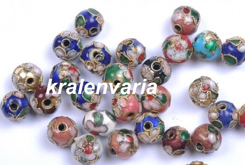 Cloisonne kralen mix ca. 6 mm Multicolor