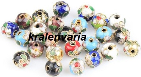 Cloisonne  kralen mix 8 mm Multicolor
