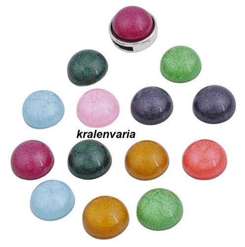 Mix acryl plakstenen rond ca. 15 mm ca. 7mm dik Multicolor