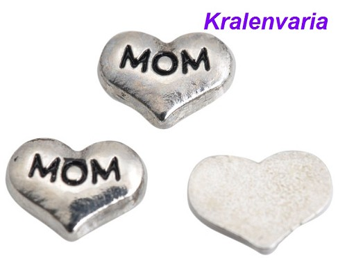 Floating charm hart ca.9x7 mm met  tekst Mom