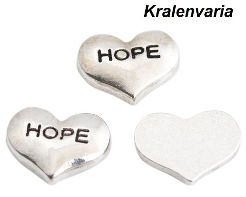 Floating charm hartje  ca. 9x7 mm met tekst Hope