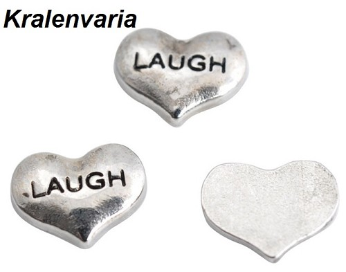Floating charm hartje  ca. 9x7 mm met tekst Laugh