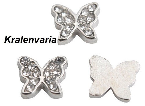 Floating charm vlinder met strass  ca.7x8  mm
