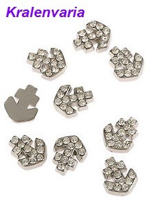 Floating charm anker 9 mm met strass steentjes