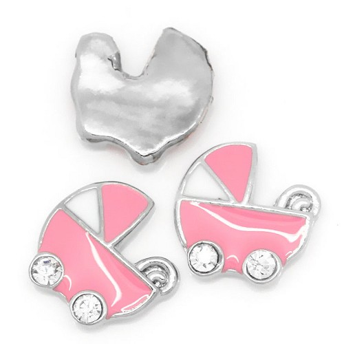 Floating charm kinderwagen Roze/Wit