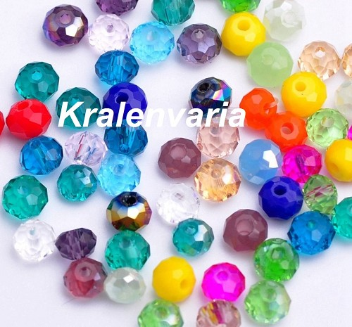 Glas kristal rondel facet geslepen ca. 4x3 mm mix Multicolor