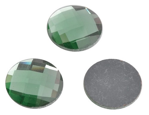 Glas plaksteen facet 20 mm Groen