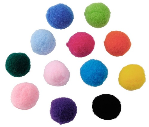 Mix stoffen pompon balletjes 20 mm Multicolor