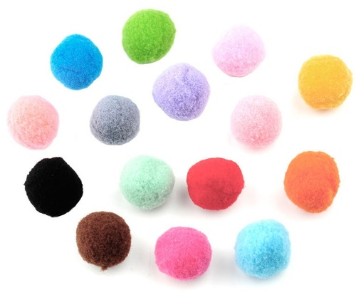 Mix stoffen pompon balletjes 25 mm Multicolor
