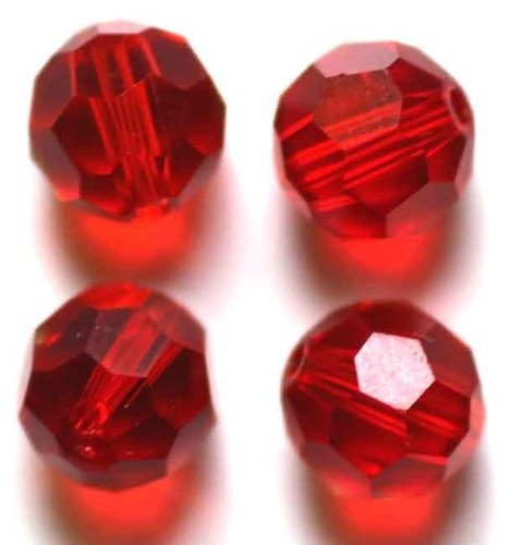 Glaskraal facet geslepen 10 mm  Rood
