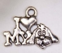 Metalen hanger/bedel i love my dog 17x11 mm