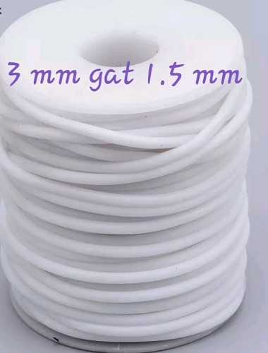 Buna koord 3 mm en gat  ca. 1,5 mm Wit