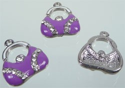Metalen hanger tas strass met epoxy 18x15 mm Paars