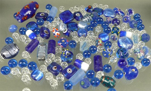 Glaskralen mix 6-30  mm Blauw