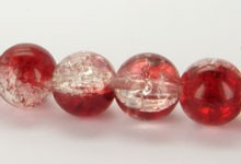 Crackle glaskraal 8 mm Rood/Transparant