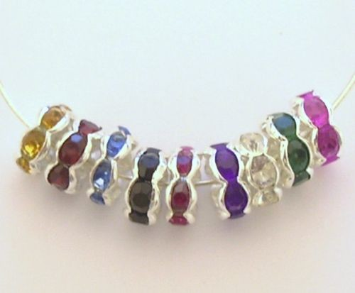 Strass rondel mix 8 mm met ribbel rand  Multicolor