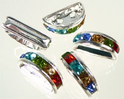 Strass verdeler 2 gats  ca. 13x8 mm  Multicolor