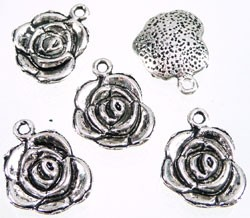 Metalen hanger roos 18x14 mm