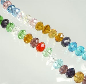 Glas kristal mix rondel facet geslepen  ca. 8x5 mm Multicolor