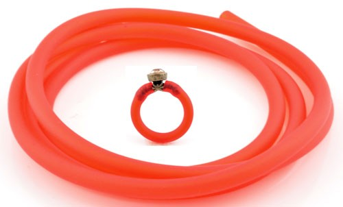 Siliconen buna koord rond ca. 5 mm en gat is ca. 2,5 mm Rood