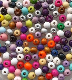 Houten kralen mix ca. 8 mm Multicolor