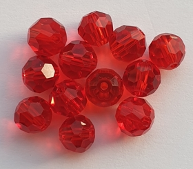 Glaskraal facet 8 mm Rood