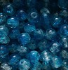 Crackle kraal 8 mm Blauw/Transparant