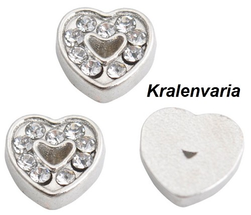 Floating charm hartje met strass  ca.7  mm