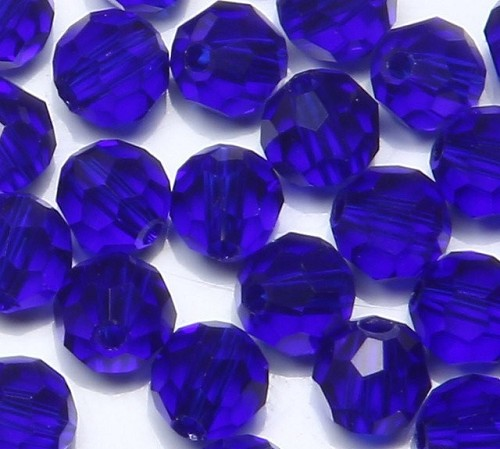 Glaskraal kristal  facet 8 mm  Kobalt Blauw